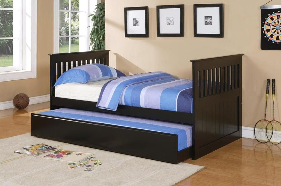 Twin Size Pottery Black Mission Style Solid Wood Bed Trundle Trundle Bed With Storage Kid Beds Bunk Bed With Trundle Cheap twin beds with trundles