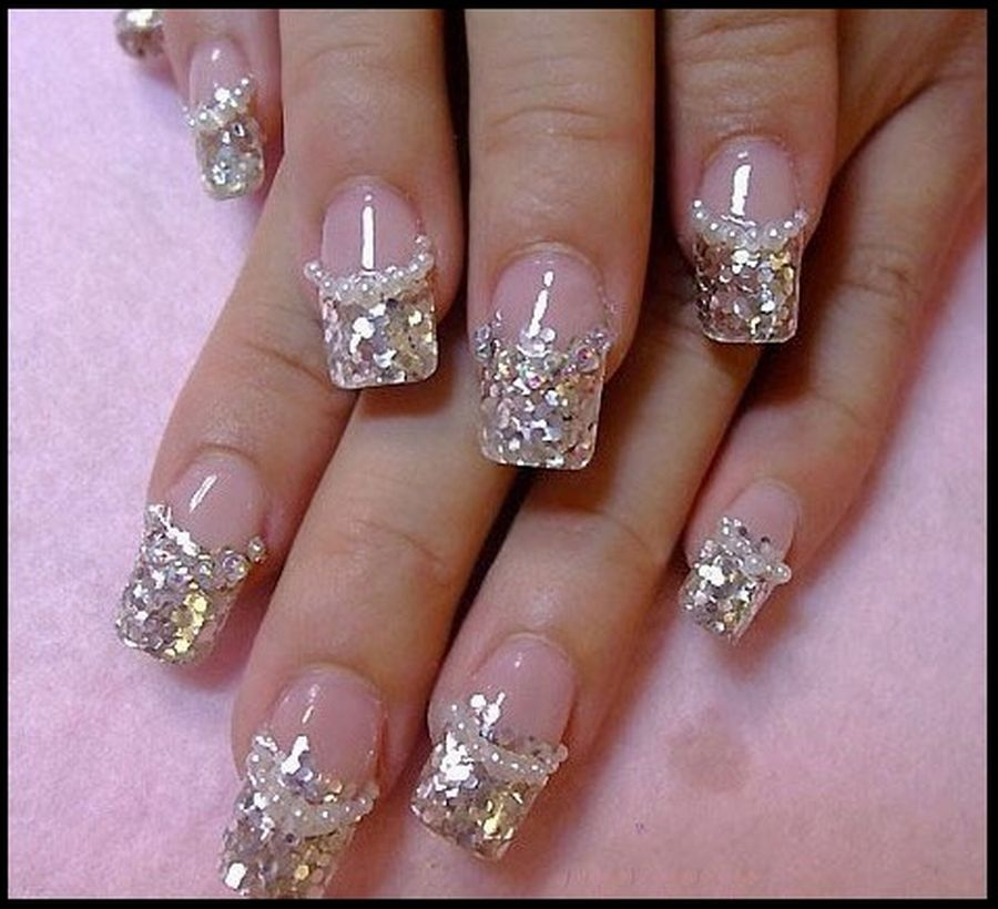 Crystal Princess French Manicure Nail Art with 3D Style   Nail ...