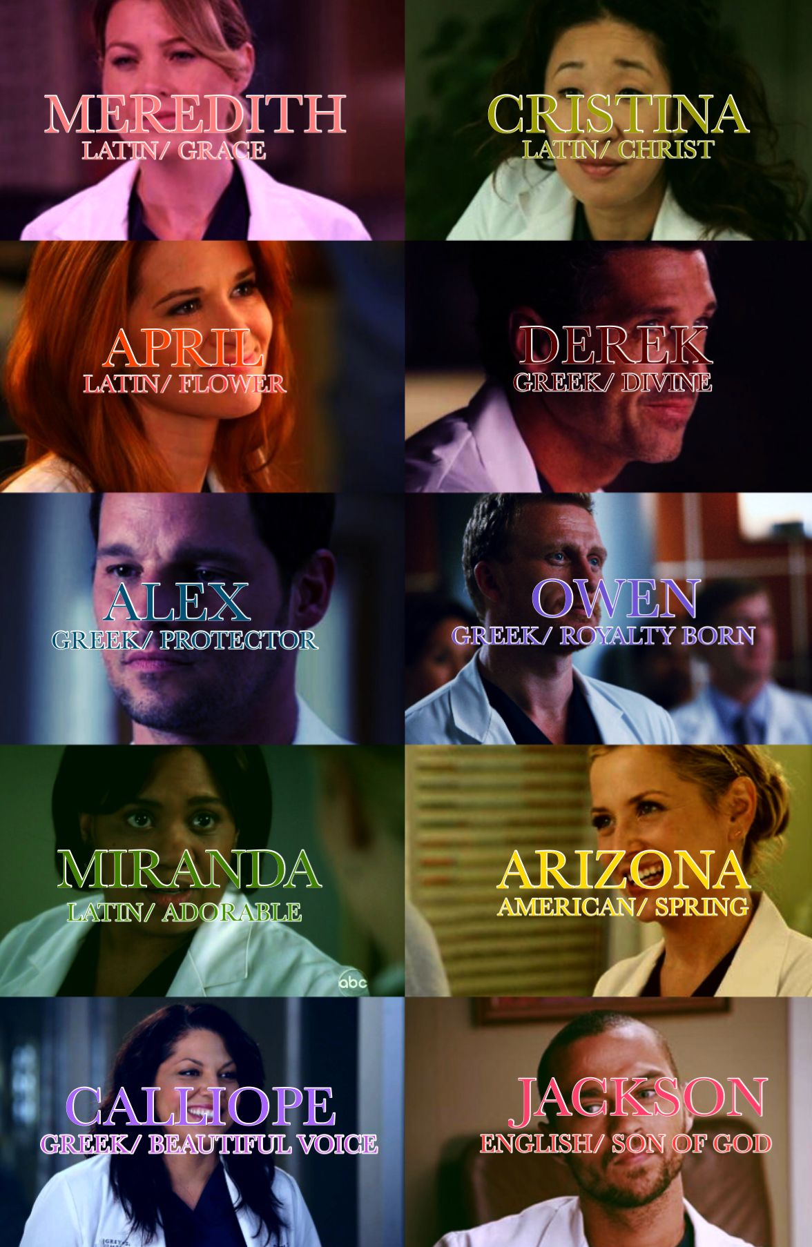 greysanatomy #names #tvshow #series | Anatomía de grey | Pinterest ...