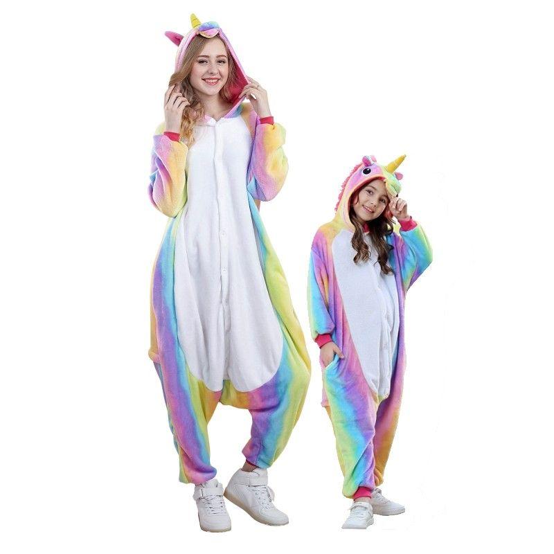 Rainbow Unicorn Onesies Pajamas For Adults Kids Unicorn Onesie Pajamas Girly Outfits Onesie Unicorn