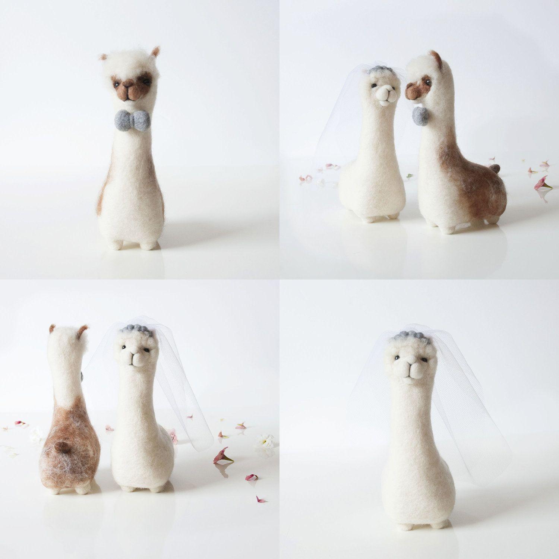 Alpaca wedding cake toppers fudge and mabel alpaka