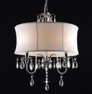 White Drum Shade Crystal Ceiling Chandelier Pendant Light Fixture Lighting Lamp by The Gallery - Chandeliers Lighting