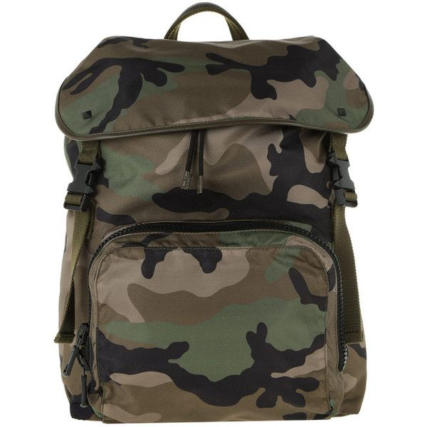 Valentino Shoulder Bag - Backpack Nylon Camouflage Army Green/Nero -... ($850) ❤ liked on Polyvore featuring bags, handbags, shoulder bags, green, shoulder handbags, shoulder hand bags, drawstring backpack, nylon backpacks and man shoulder bag