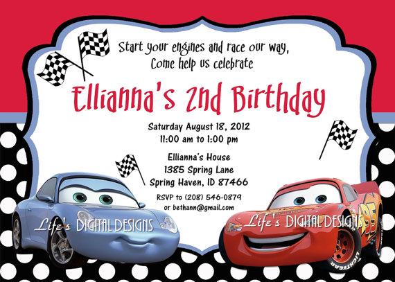 Disney Cars Sally And Lightning Mcqueen Birthday Invitations Polka Dots Cars Birthday Invitations Car Birthday Party Invitations Birthday Invitation Templates