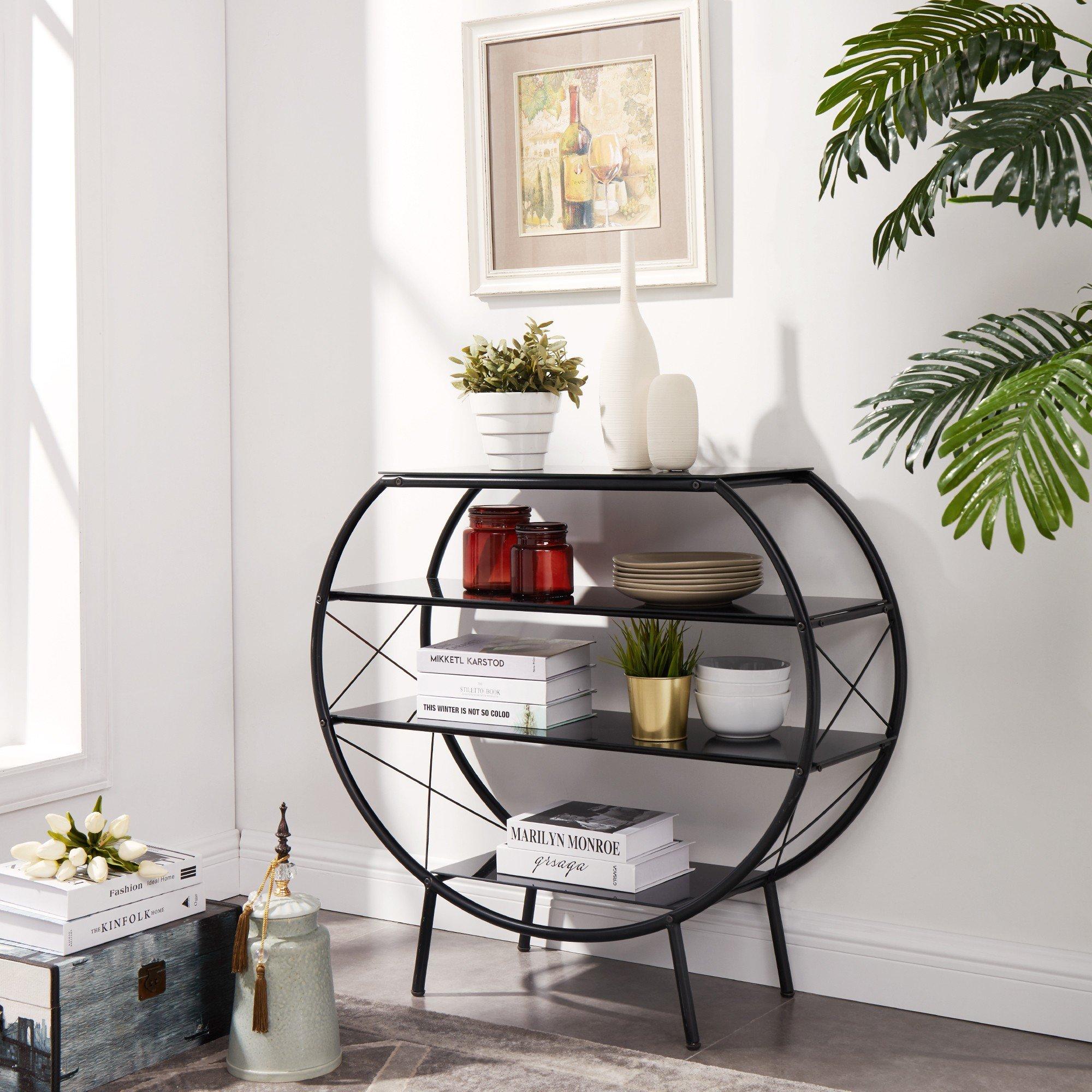 Circlelink Metal 4Tier Curved Shelf Black Finish
