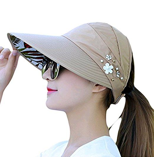 9151dffb44a01 Westeng Sun Cap Ladies Foldable Beach Hat Wide Brim Plain Visor Hat Summer  UV Sun protection Travel Casual. UK hats. It s an Amazon affiliate link.