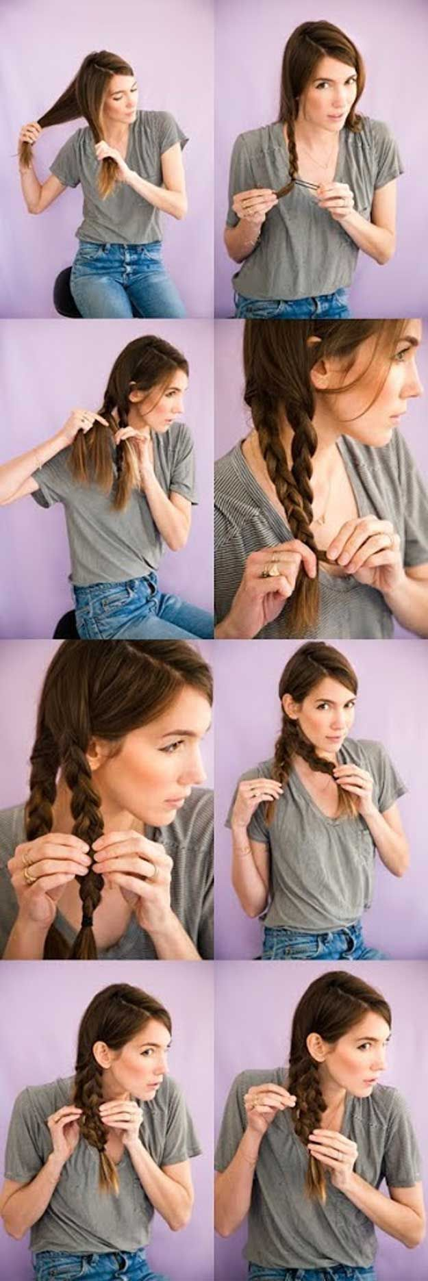 5 Minute Hairstyle - Wet Braids | Medium hair styles ...