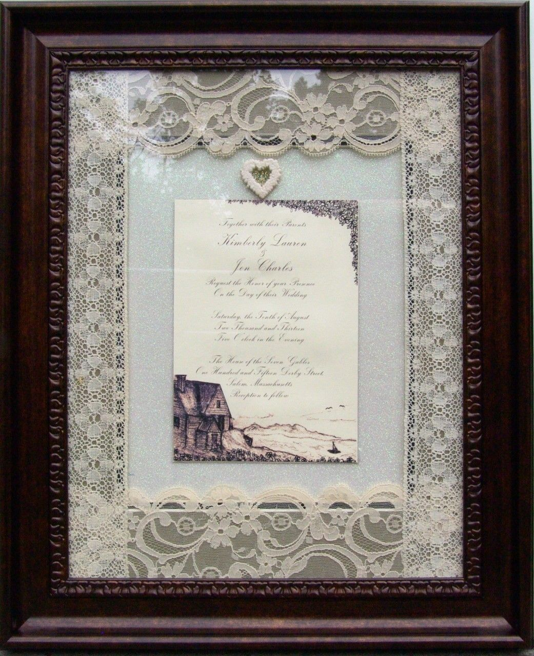 Custom made framed personalized wedding invitation preservation custom made framed personalized wedding invitation preservation keepsake elegant gift boutique negle Gallery