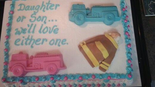 Firefighter Reveal Cake Baby Gender Reveal Party Baby Gender Reveal Firefighter Baby
