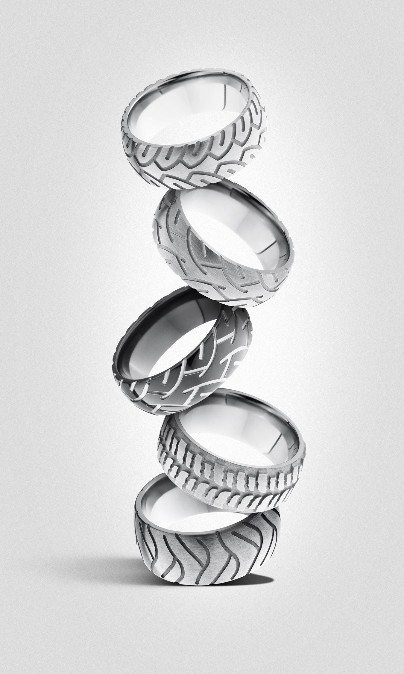 Tire tread men's rings from Lashbrook available at Dana's
