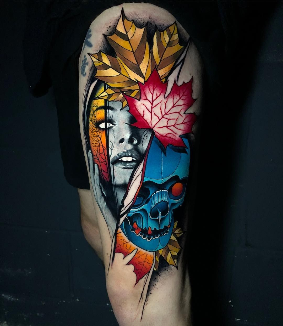 Abstract portrait tattoo by rich harris abstract