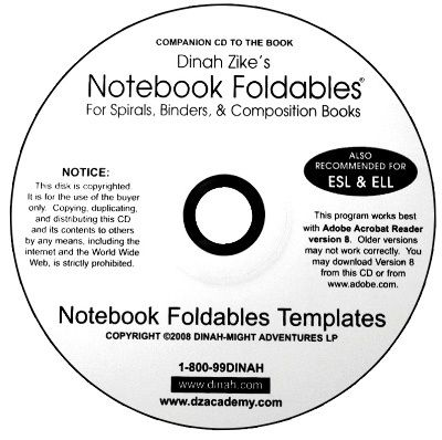 Dinah-Might Adventures Store - Dinah Zike's Notebook Foldables for Spirals, Binders,