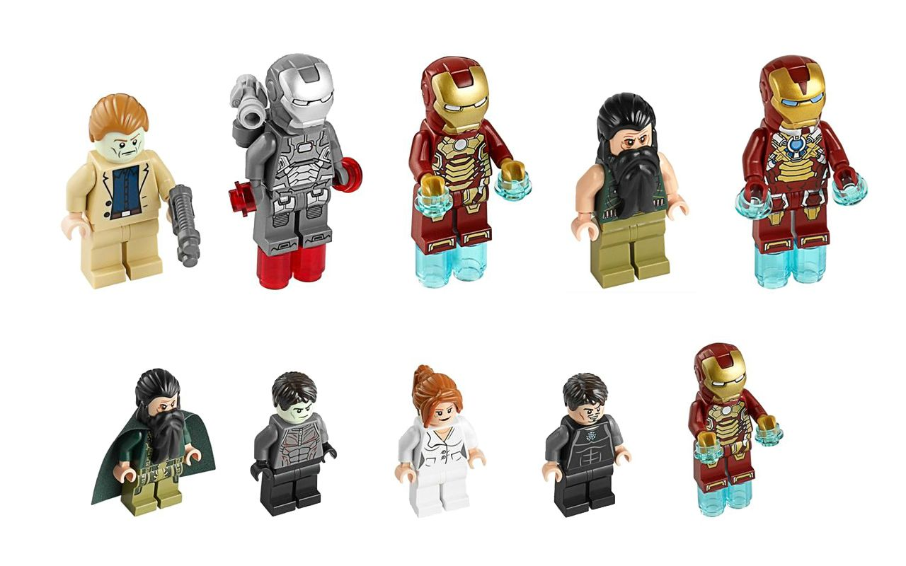 Lego X Iron Man 3 The Sets Containing These Lego Minifigures Iron Man 3 Iron Man Mini Figures