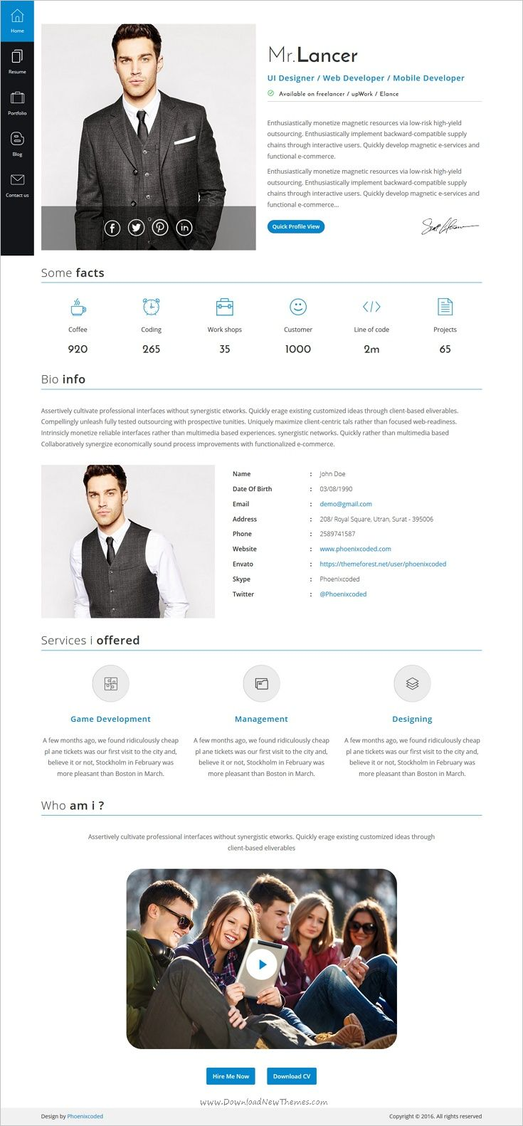 Web Resume Template Mrlancer  Personal Cvresume Template Angular Version