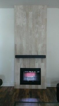 Fireplace 6 X 24 Travertine Plank Tile Contemporary Living Room Austin By Custom Surface Sol Contemporary Living Room Fireplace Contemporary Living