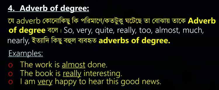 Adverb of degree adverbs 10 sentences word building