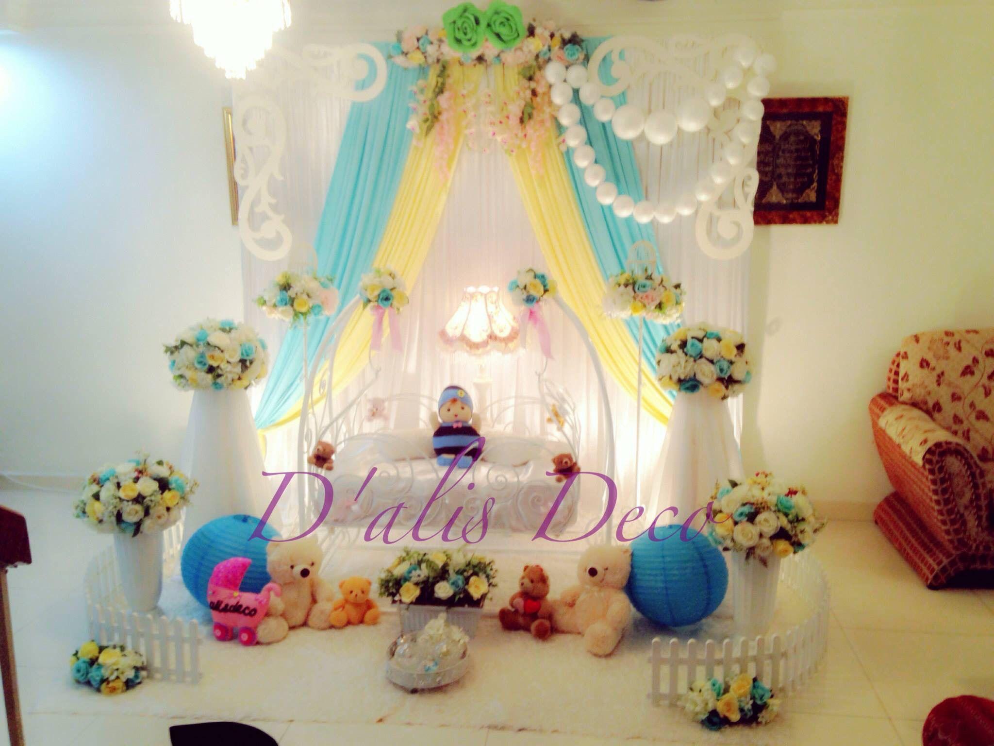 Pelamin buaian majlis aqiqah tema ala ala english warna for Balloon decoration for naming ceremony