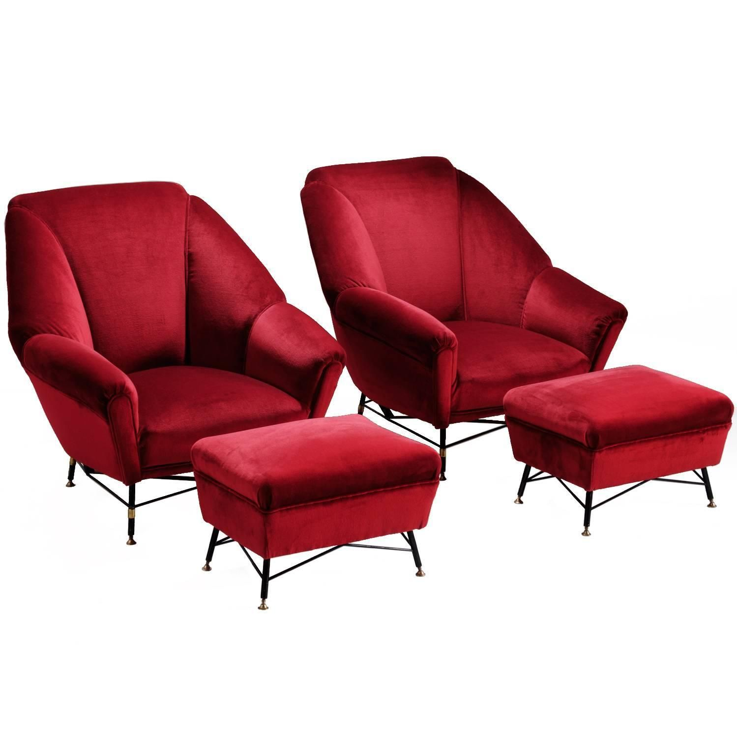 Italien red velvet lounge chair with ottoman