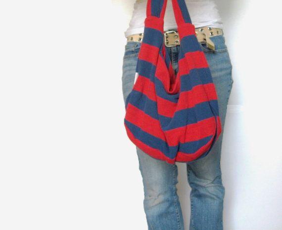 64ac99f06b46 Sunmer fun bag!!Nautical Striped Fabric Purse Hobo Bag Boho by  SmiLeaGainCreations