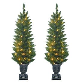 SYLVANIA 2-Pack 4-ft Outdoor Pine Pre-Lit Decorative Artificial Tree ...