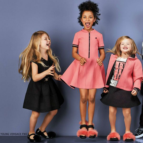 12b0af3b YOUNG VERSACE Girls Pink Neoprene Party Dress. Adorable streetwear look for  girls this Fall 2017