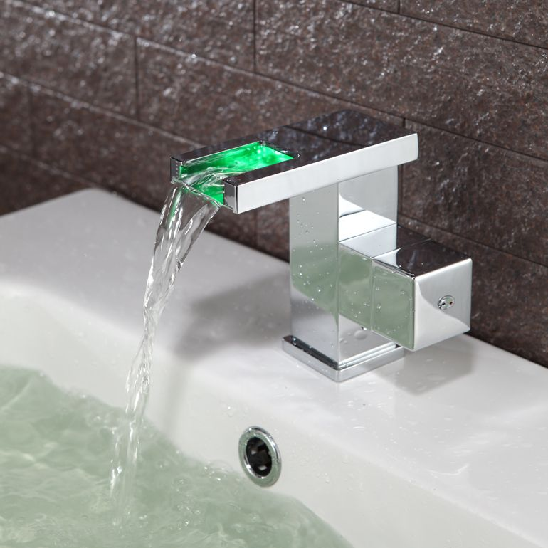Contemporary Color Changing Led Bathroom Sink Faucet T0828f T0828f 79 99 Bathroom Sink Taps Bathroom Sink Faucets Waterfall Square Bathroom Sink