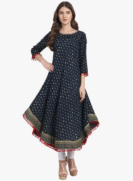 d8868e039630 Buy Nayo Navy Blue Printed Kurta for Women Online India