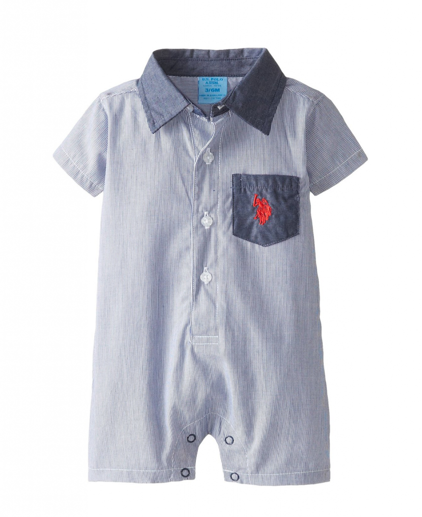 Cute U S Polo Assn Baby Boys Striped Chambray Baby Romper