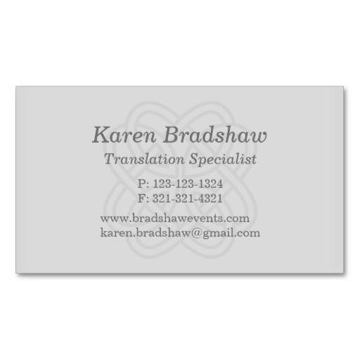 Gray Celtic Knot Translation Business Cards Translator Business - resume translation