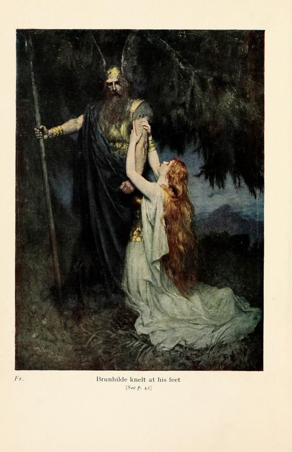 ferdinand leeke - brunhilde knelt at his feet (published in the ...