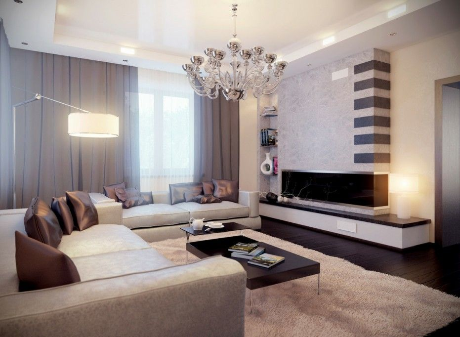 glamorous neutral living room with chrome modern chandelier - Interior Design Living Room Color