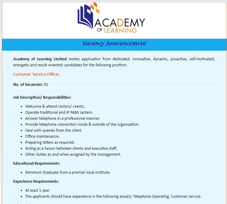 Academy Of Learning Limited Customer Service Officer Job Circular