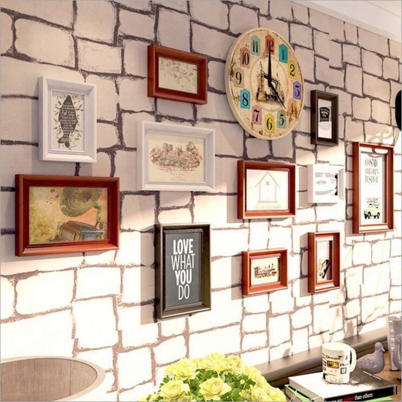Nice Vintage Style 10 Pc Wood Frames W Clock Wall Art Set Clock Wall Art Photo Frame Wall Wall Frame Set