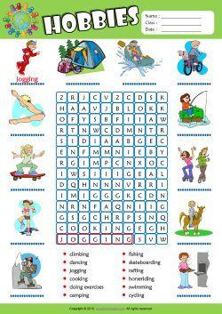Hobbies Word Search Puzzle ESL Vocabulary Worksheet  Educacion ingles, Aprender ingles para