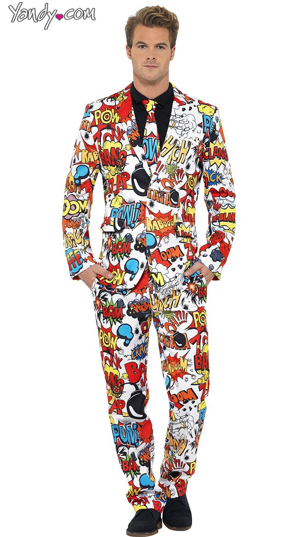 Comic Strip Suit Adult Mens Costume Printed Statement Coat Halloween Fancy Dress