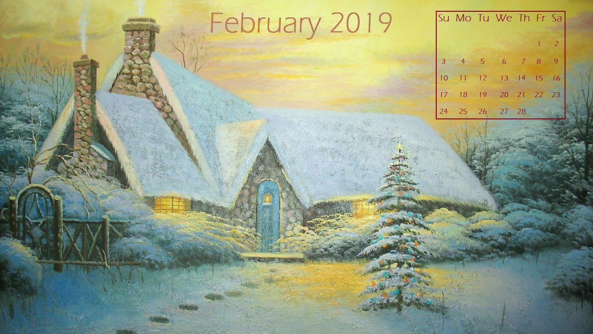 February 2020 Desktop Calendar Wallpaper Kinkade