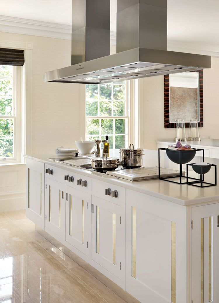 Another Example Of White Cabinets And Beige Marble Floors