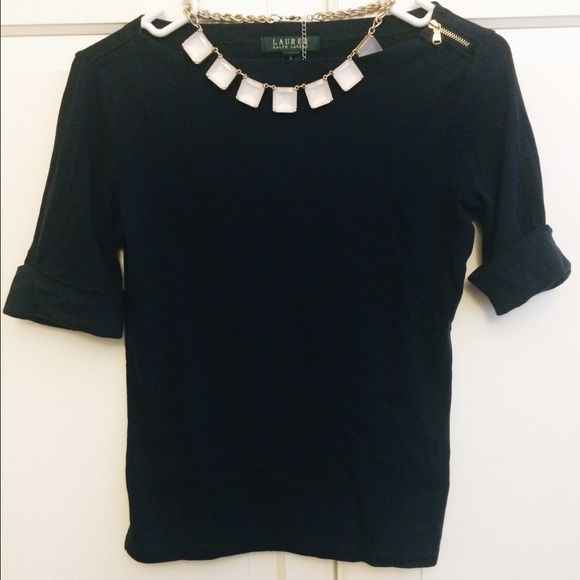 Ralph Lauren | Navy Blue Top Ralph Lauren, Navy Blue Top | Size: Small. Rolled sleeves and adorable little zipper on one of the shoulders. Fits a size Small & Extra Small. PLEASE NOTE: Necklace is NOT included. This is how I style the shirt. Ralph Lauren Tops Blouses