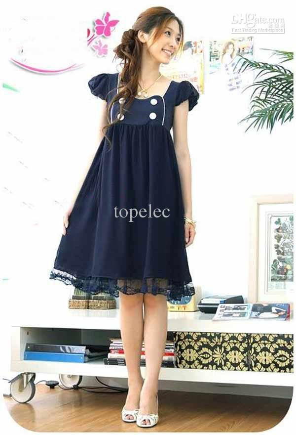 7178b48ca9c 2016 2015 New Summer Fashion Chiffon Short Sleeved Maternity Dress Casual  Pregnant Women Dresses  9736 From Topelec