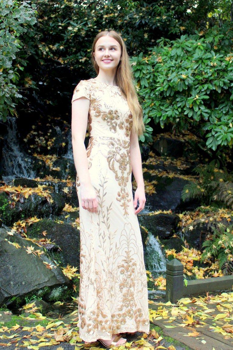Dina Gold Sequin Modest Prom Dressdina Virtuous Prom Prom Dresses Modest Modest Homecoming Dresses Modest Prom [ 1154 x 768 Pixel ]