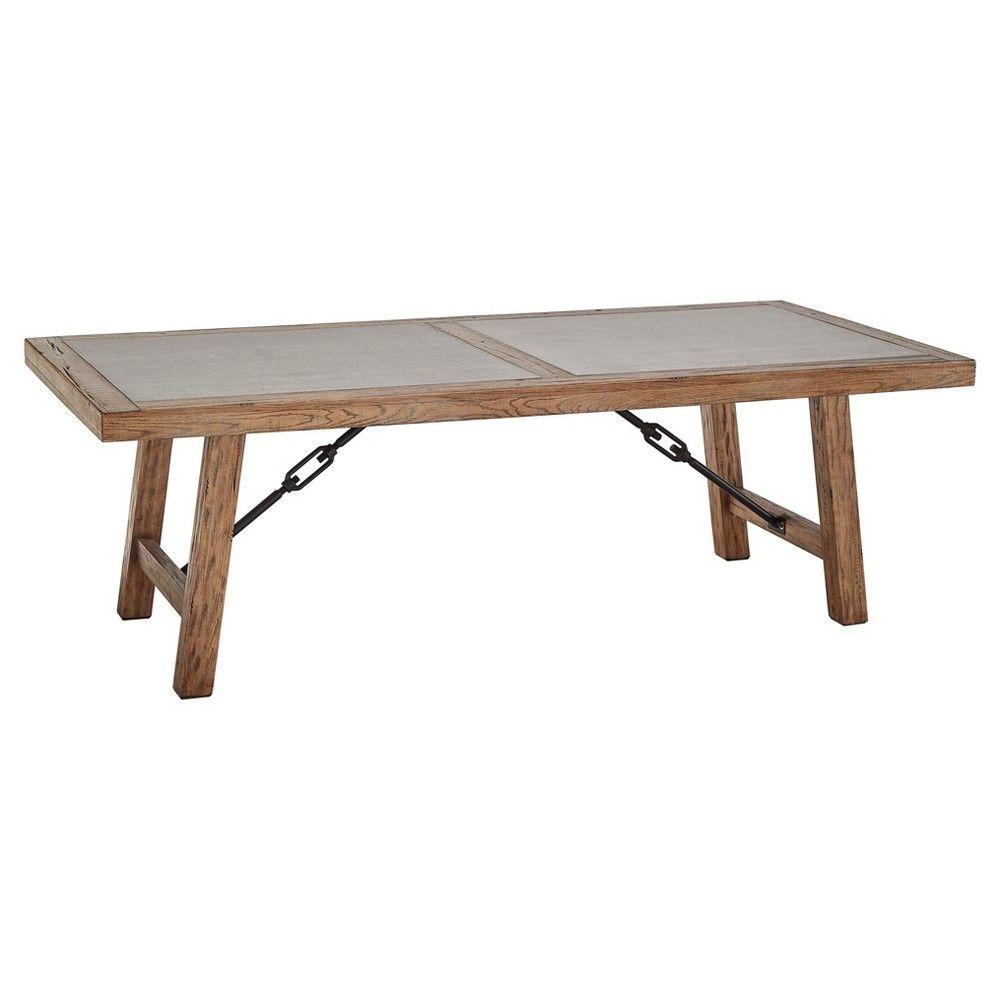 Barbaro Wood & Concrete Farmhouse Dining Table - Distressed Pine - Inspire Q