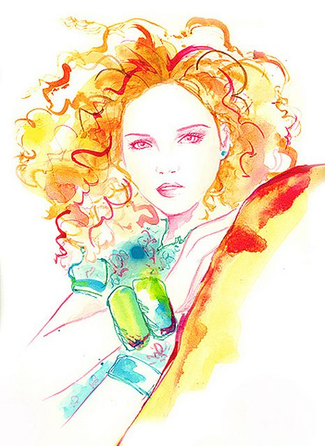 inspired by Lily Cole. Watercolour and ink illustration by Chantel de Sousa. #watercolour #ink #illustration #portrait #art #fashion