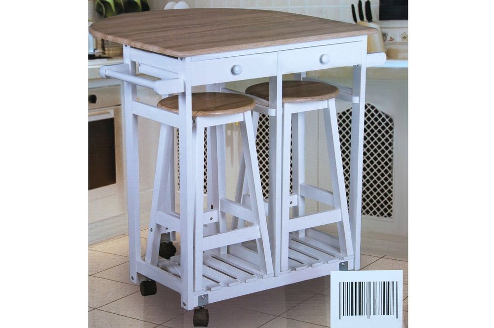Breakfast Bar Stools Table Set Kitchen Furniture Wheels Drawers