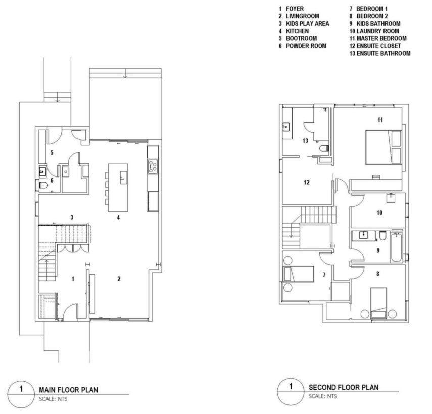 plano de casa de 2 pisos 6 habitaciones
