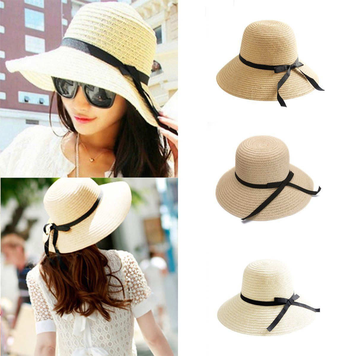 1ca9402165b Elegant Women Ladies Bohemia Wide Brim Cap Floppy Summer Beach Sun Straw Hat