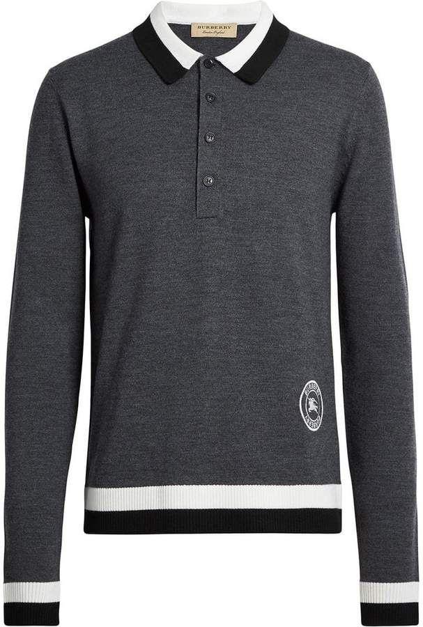 76130dec Burberry Stripe Detail Merino Wool Long-sleeve Polo Shirt   Products ...