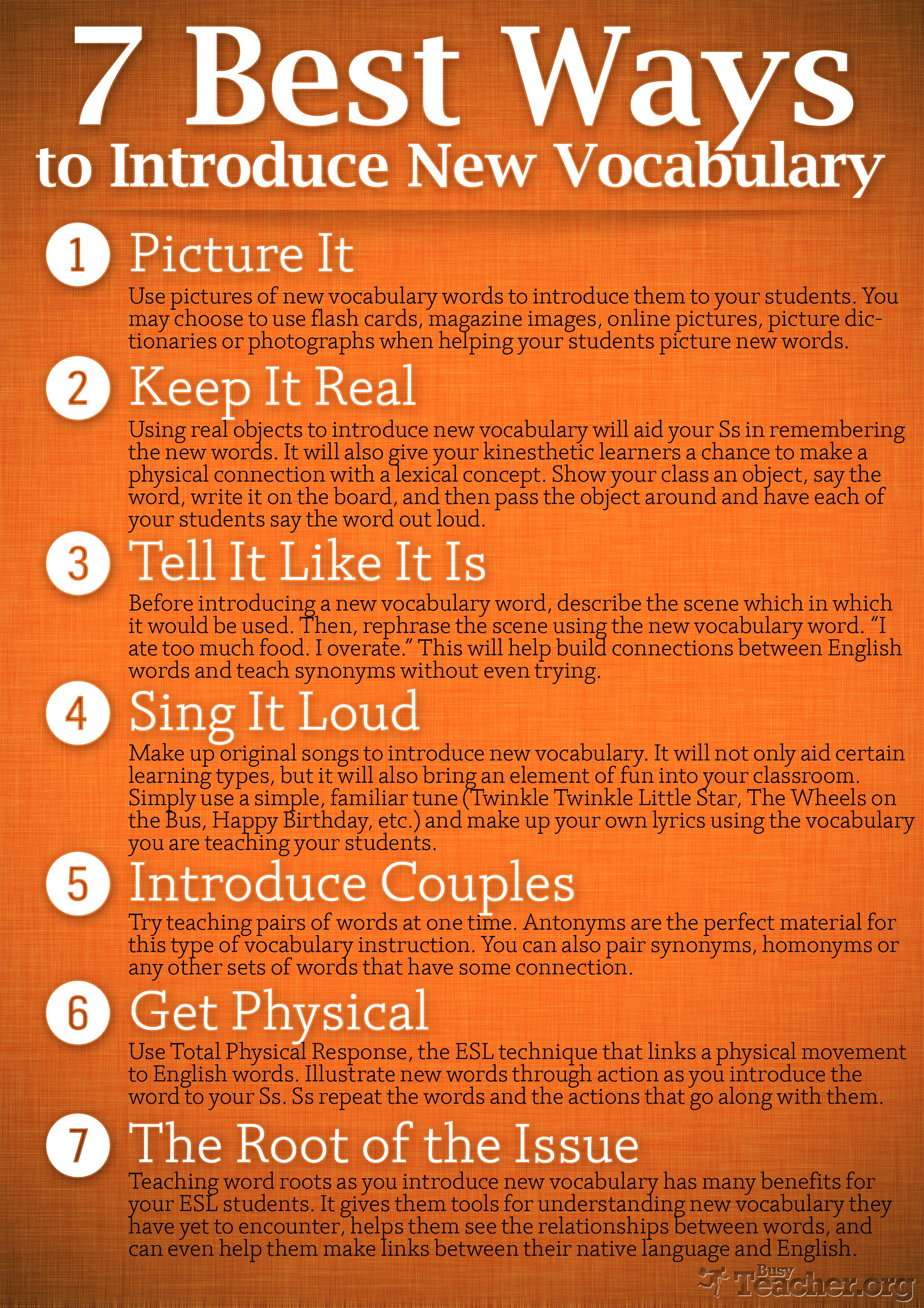 POSTER: 7 Best Ways to Introduce New Vocabulary | ESL | Pinterest ...
