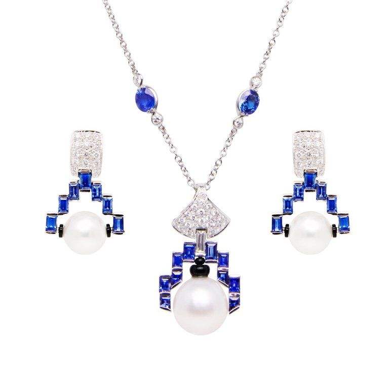 24fa0a5b1 Ella Gafter blue Sapphire and Diamond Necklace and Earrings Set with Pearl  | From a unique