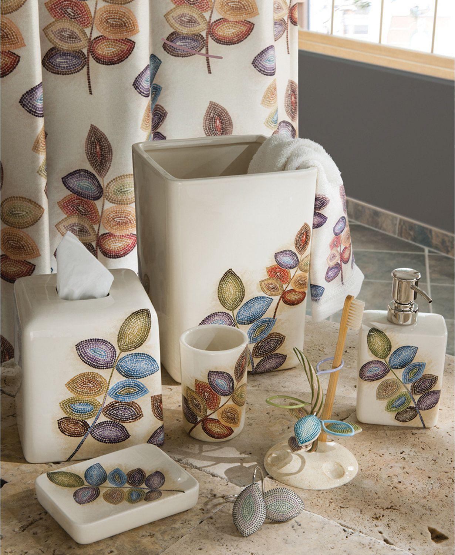Croscill Bath Mosaic Leaves Accessories Macys Com Bathroom