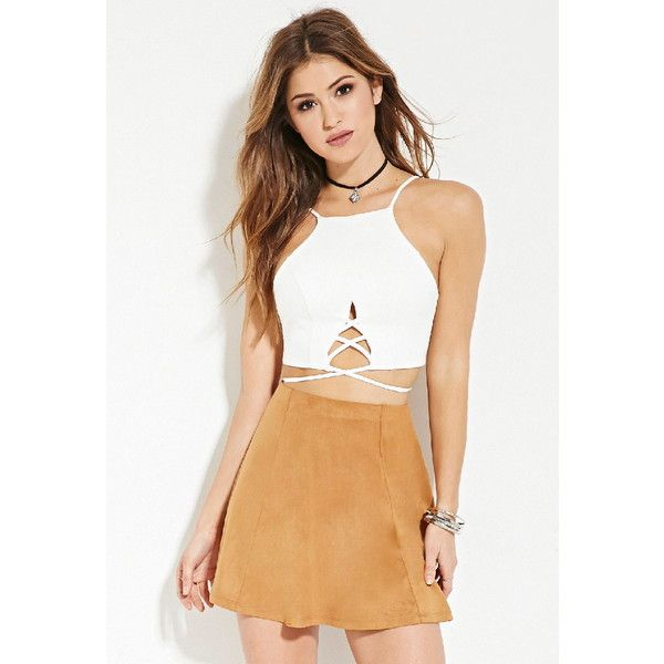Forever 21 Women's  Faux Suede Skater Skirt ($9.90) ❤ liked on Polyvore featuring skirts, flared skirt, beige skirt, forever 21 skirts, full length skirt and full length circle skirt